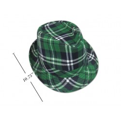 St. Patrick's Day Green Plaid Fedora Hat