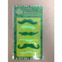 St. Patrick's Day Green Moustaches ~ 6 per pack