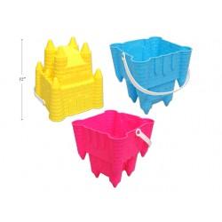 """Neon Square Sand Castle Bucket w/Shovel ~ 7"""""""