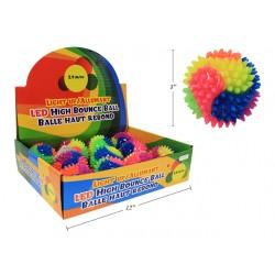 Light-Up Flashing Rainbow Spikey High Bounce Ball ~ 12/display