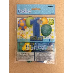 "12"" Round Balloons - 1st Birthday Blue ~ 8 per pack"