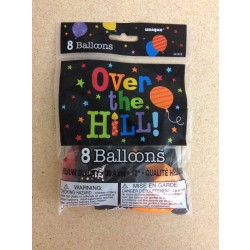 "12"" Round Balloons - Assorted Colors w/OVER THE HILL ~ 12 per pack"