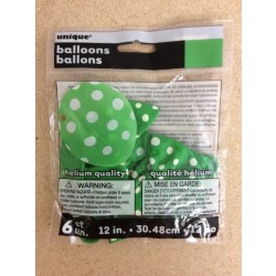 "12"" Round Balloons - Green w/Dots ~ 6 per pack"