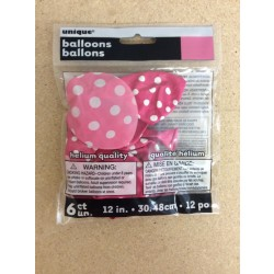 "12"" Round Balloons - Hot Pink w/Dots ~ 6 per pack"