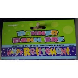 """Foil Banner - 12' ~ """"Happy Retirement"""""""