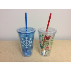 Christmas Double Wall Tumbler w/Lid & Straw ~ 16oz