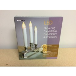 "Christmas Triple LED Flickering Candelabra ~ 10""H"