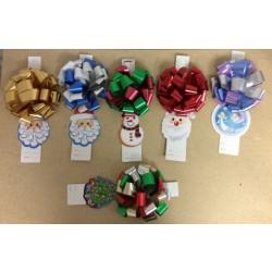Christmas Pom-Pom Bows w/Gift Tag ~ 6 asst