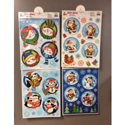 Christmas Circle Window Clings w/Glitter ~ 4 asst