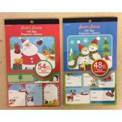 Christmas Gift Tags w/Glitter - Peel N Stick ~ 48/pcs