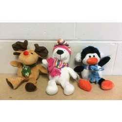 "6""H Christmas Plush Animals ~ 3 assorted"