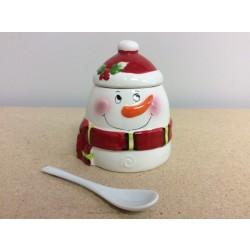 Christmas Snowman Ceramic Sugar Dish w/Spoon