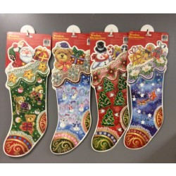 Christmas Stocking Shaped Window Clings w/Glitter ~ 4 asst