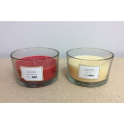 Christmas Scented Glass Candle w/3 wicks ~ 2 assorted