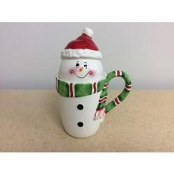 Snowman Tall Ceramic Mug w/Lid
