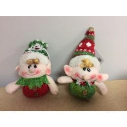 """4"""" Stuffed Elf Ornament ~ 2 asst"""