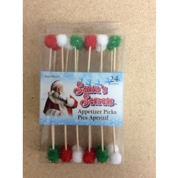Pom-Pom Appetizer Wooden Picks ~ 24/pc