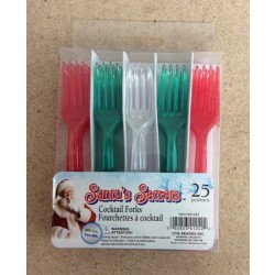 Plastic Mini Cocktail Forks - Red/Green/Clear ~ 25/pc
