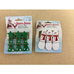 Christmas Festive Bag Clips ~ 3/pc