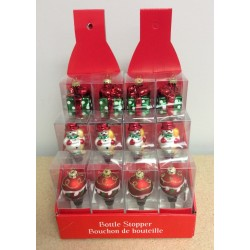 Christmas Blown Glass Bottle Stopper