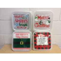 "Christmas 10"" Square Plastic Cookie Containers ~ 2 per pack"