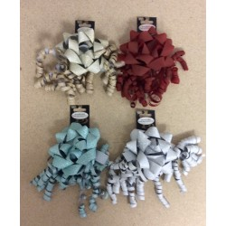 "Christmas 4"" Glitter Star Bow w/Curl Swirl ~ 4 colors"