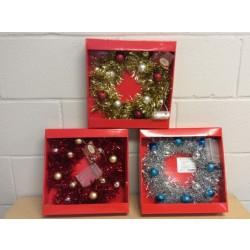 "Christmas Light-Up Tinsel Wreath w/Balls ~ 10"" D"