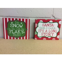 "Christmas Wooden Block with Sayings Wall Decoration ~ 7.25"" x 6"""