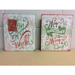 "Christmas Greeting Wooden Wall Decorations ~ 9.5"" x 8"""