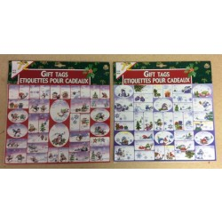 Christmas Gift Tags w/Glitter - Peel N Stick ~ 72/pcs