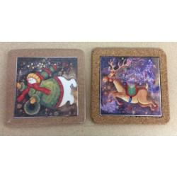 """Christmas 6"""" Cork Trivet w/Christmas Scene ~ 2 assorted"""