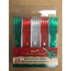 Christmas Mini Plastic Cocktail Forks ~ 25 per pack