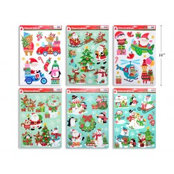 Christmas Glitter Window Clings ~ 8 assorted