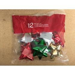 "Christmas Metallic Star Bows - 3"" ~ 12 per pack"