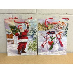 Large Christmas Gift Bag ~ Glossy Santa / Snowman