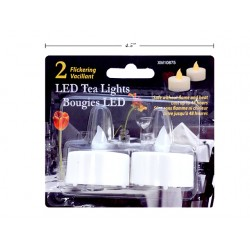 Christmas Flickering White LED Tealights ~ 2 per pack