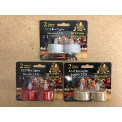 Christmas Glitter Flickering LED Tealight Candles ~ 2/pk