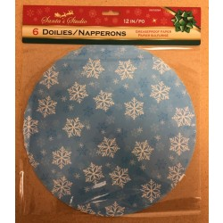 "Christmas Grease Proof Printed Paper Doilies - 12"" ~ 6 per pack"