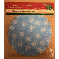 "Christmas Grease Proof Printed Paper Doilies - 8"" ~ 10 per pack"
