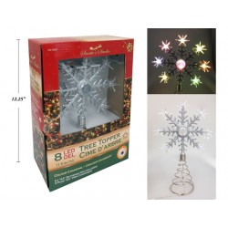 Christmas 8-LED Color Changing Flashing Snowflake Tree Topper ~ 11.5""