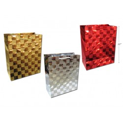 Christmas Large Gift Bag ~ Foil with Glitter Checkered