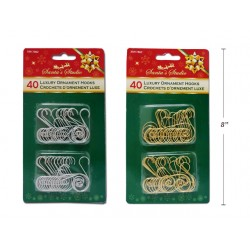 Christmas Scroll Ornament Hooks ~ 40 per pack