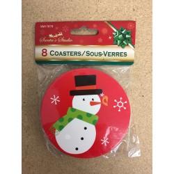 "Christmas Printed Coasters - 3.75"" ~ 8 per pack"