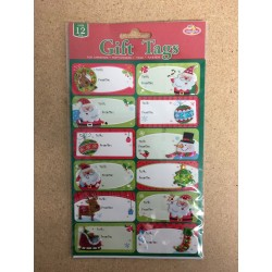 Christmas Puffy Sticker Gift Tags ~ 12 per pack