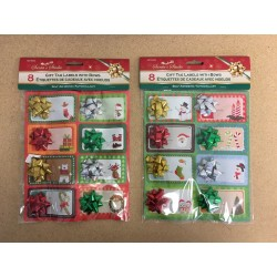 Christmas Self Adhesive Gift Tag Labels w/Bows ~ 8 per pack