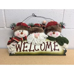 Christmas Country Style Plush Santa / Snowman Wall Hanging