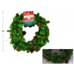 "Christmas Battery Operated 20 LED Outdoor Pine Wreath with Berries ~ 24"" D"
