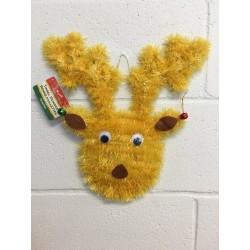 Christmas Tinsel Goggle Eye Reindeer Head with Jingle Bells
