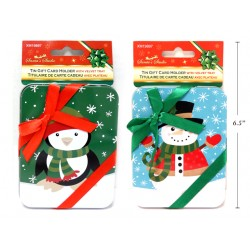 "Christmas Printed Tin Gift Card Holder with Velvet Tray ~ 4.5/8"" x 3-1/2"""