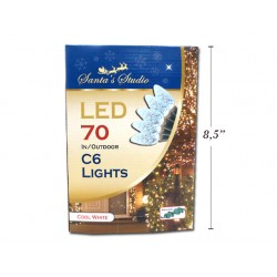 Christmas In/Outdoor LED C6 String Lights - Cool White ~ 70pk / 23.3'